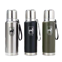 850/1100ml 304 Stainless Steel Thermos Cup with Rope High Grade Russian Military Style Vacuum Flask
