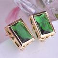 Luxury Exquisite Women Stud Earrings AAA+ Zircon Brinco Aretes Antique Gold plated Square Earring For Women Copper Fine Jewelry