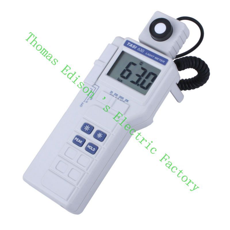 High Quality TASI-630 Digital Light Meter Luxmeter Meters LCD Backlight PEAK-HOLD 50mS pulse light and DATA-HOLD features
