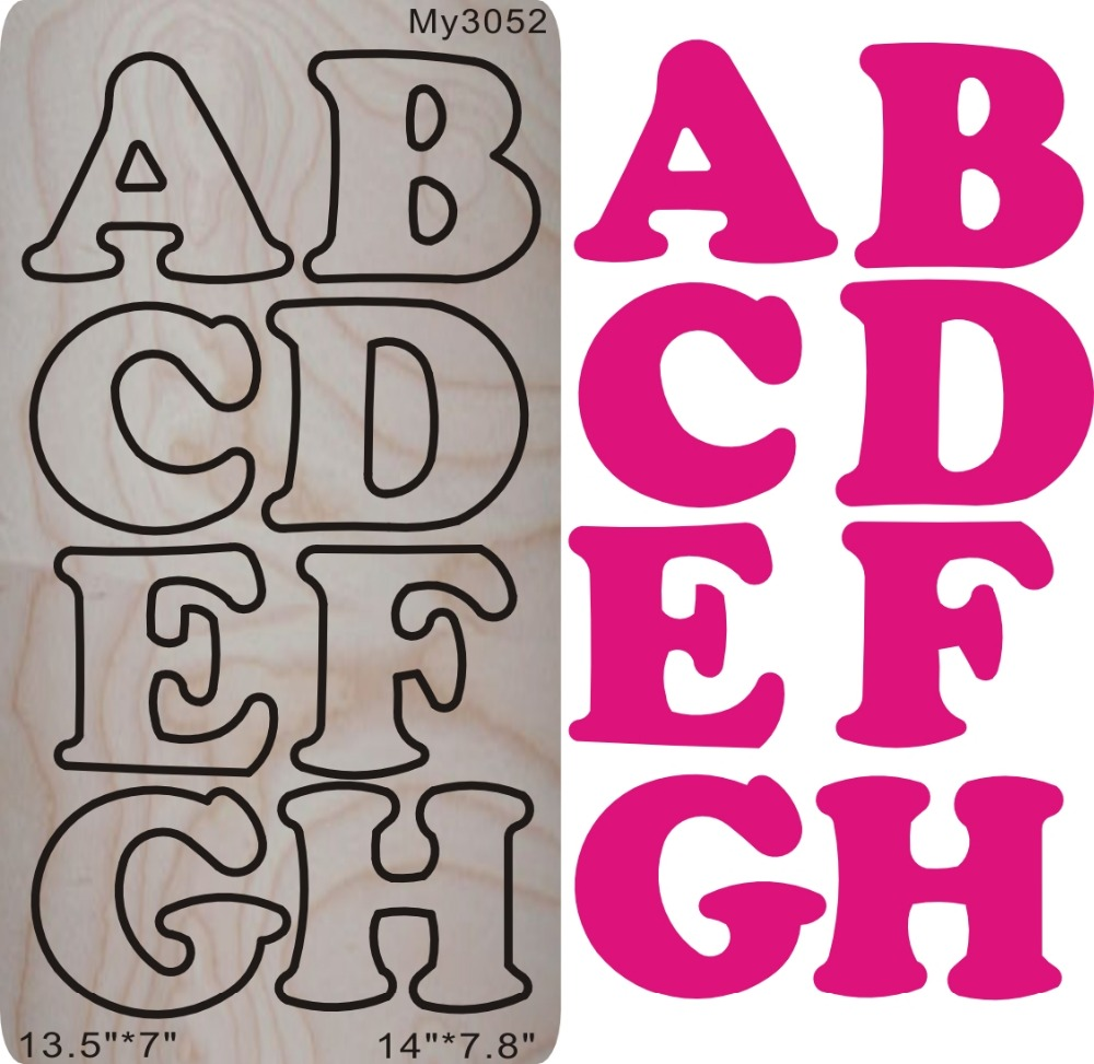 Pink 3 inches 26 letters A Z Wooden watermelon dies for scrapbooking fit machine