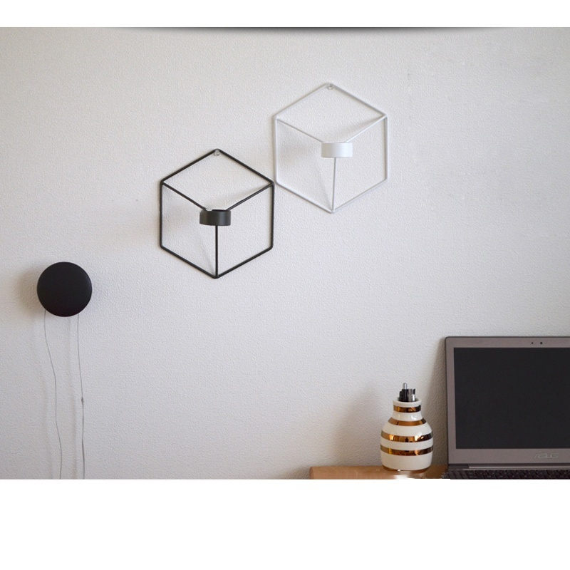 HOT Visual Touch Nordic Style 3D Geometric Candlestick Metal Wall Candle Holder Sconce Matching Small Tealight Home Ornaments