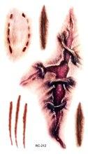 RC2212 Waterproof Temporary Tattoo Sticker Practical Jokes Fake Tattoo Stickers Bleeding Skin Scars Bloody Water Transfer Tattoo