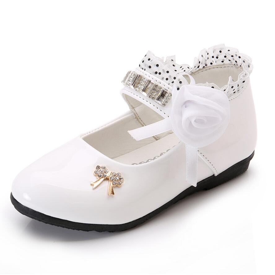 New Flower Girls Shoes Spring Autumn Princess Lace Pu Leather Shoes