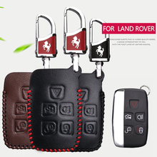 Genuine Leather Men Car Key Case Cover For Land Rover Discovery 2 3 4 Freelander 1 Defender Range Rover X9 Key Ring Accessories