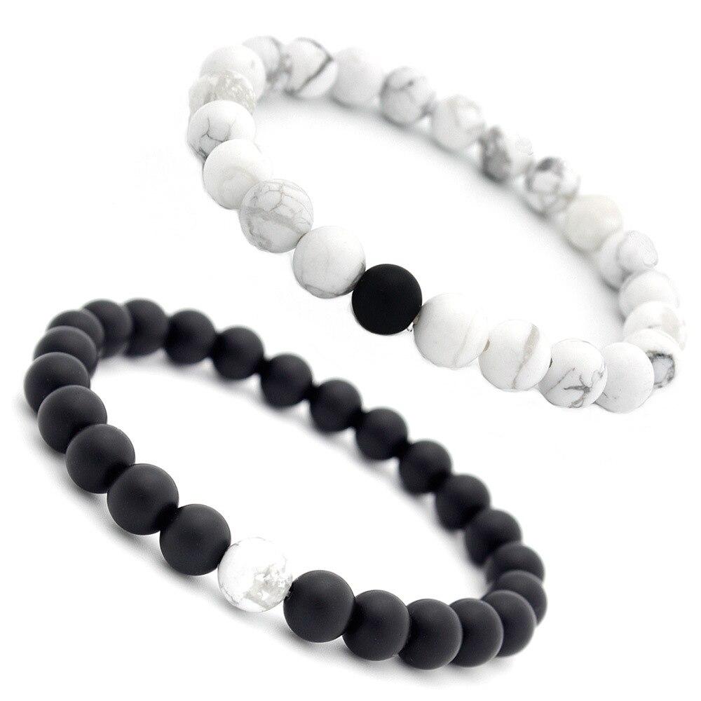 Couples Distance Bracelet 2pc Set Contrasting Howlite /& Matte Black Onyx