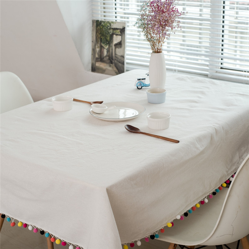 Useber Tablecloth White Plaid Decoration Crafts Color Hair Ball Tassel Tablecloth Party Wedding Home Kitchen Table cloth