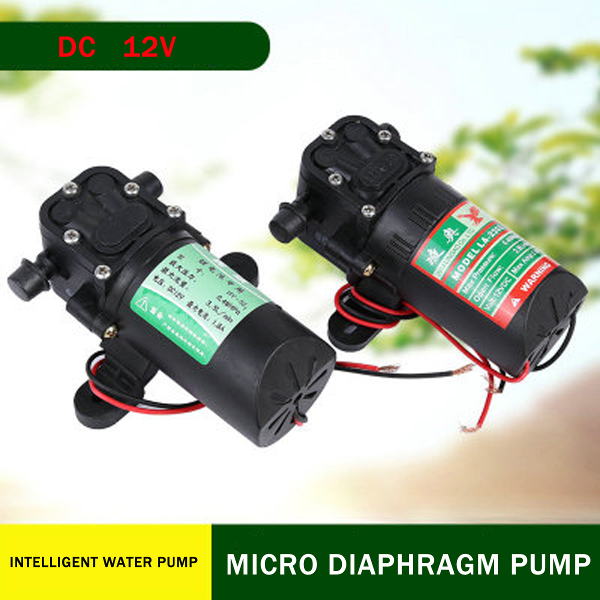 DC 12V 3.5L/min Water High Pressure Diaphragm Water Pump Self Priming Pump Water Sprayer Car Wash
