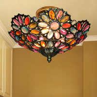 Lámpara de techo Bohemia Sudeste asiático pastoral Mediterráneo color caliente succión techo sala de estar cristal techo luces LO7284