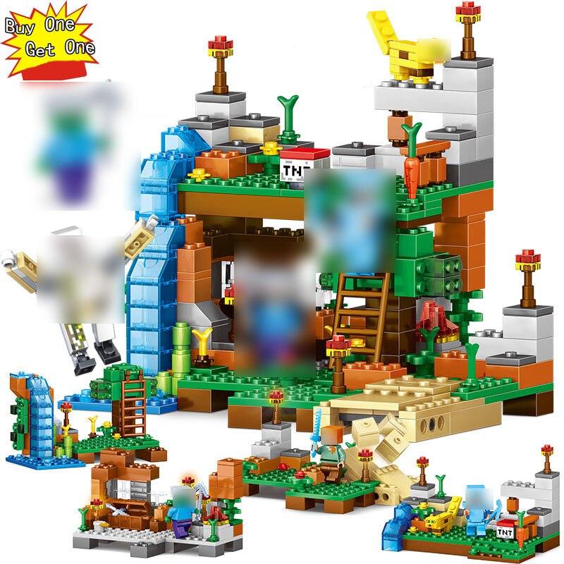 ¿378 piezas? 4 en 1 la interoperabilidad Legoed Minecrafted números edificio diseñadores ladrillos mi mundo juguetes educativos para los niños