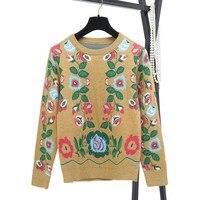 2 Piece Set Women Knit Sweater Tracksuit 2017 Runway Vintage Winter Wool Twinset Flora Designer Pullover Top Pants Suits