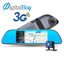 Digitalboy 7 pulgadas espejo retrovisor de coche dvr gps de navegación para android 5.0 sistema de transmisor fm bluetooth cámara dual lente dash cam