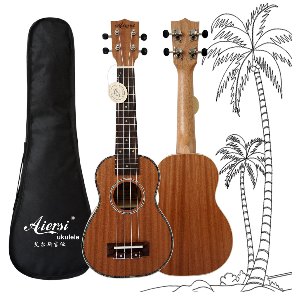 23 inch Ukulele Single Board Mahogany Wood Hawaii Guitar with Bag