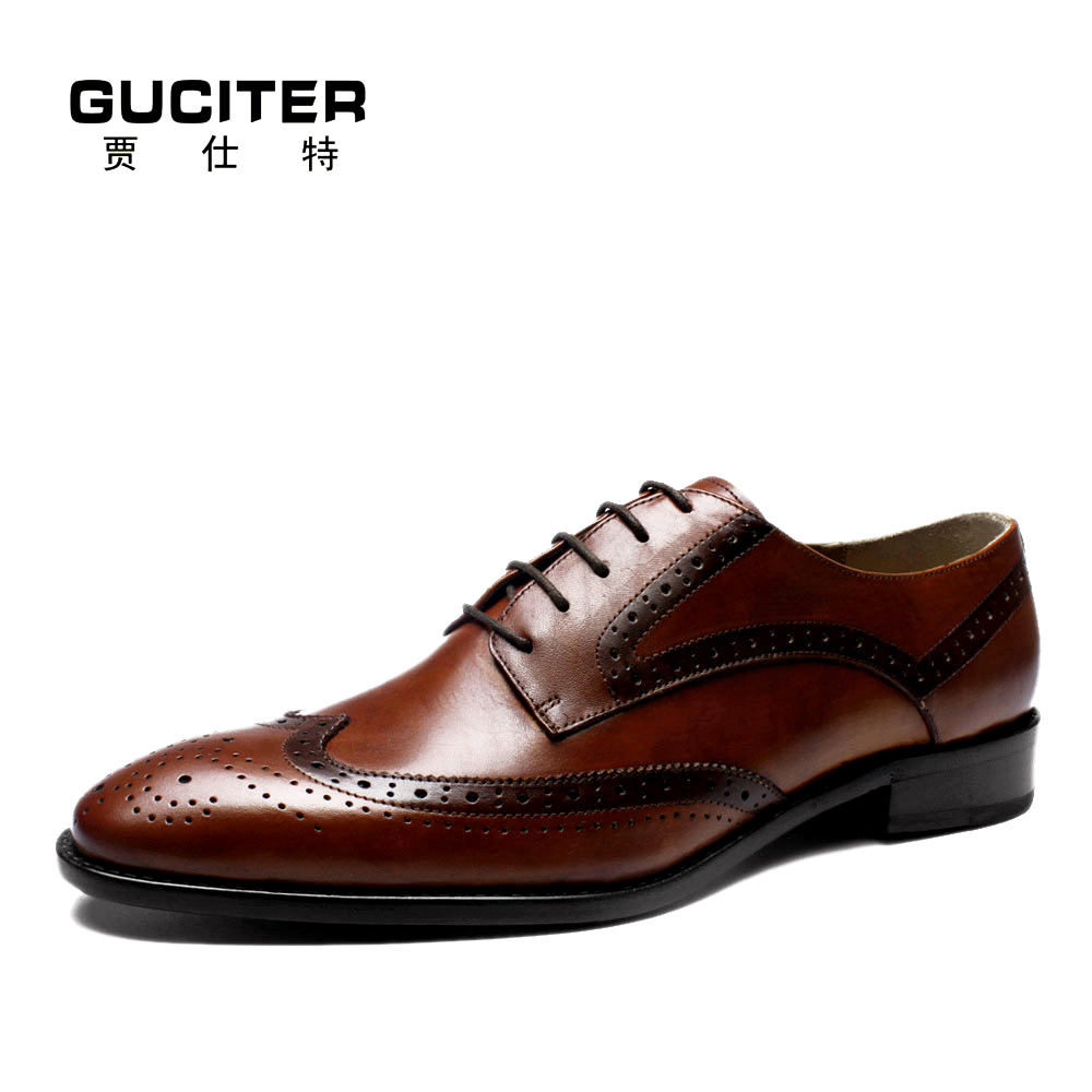 Guciter Goodyear welt shoes Genuine leather handemade shoe for male Derby British mens dress business Size 11 12 13