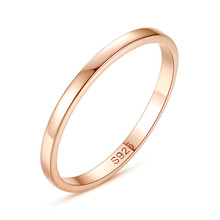 2MM Thin 925 Sterling Silver Rose Gold-Color Couple Ring Simple Fashion Gold Finger For Women Anillos