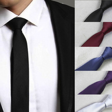 High Quality Mens Solid Color Ties  Narrow Neckwear Skinny Neck Wedding Party width