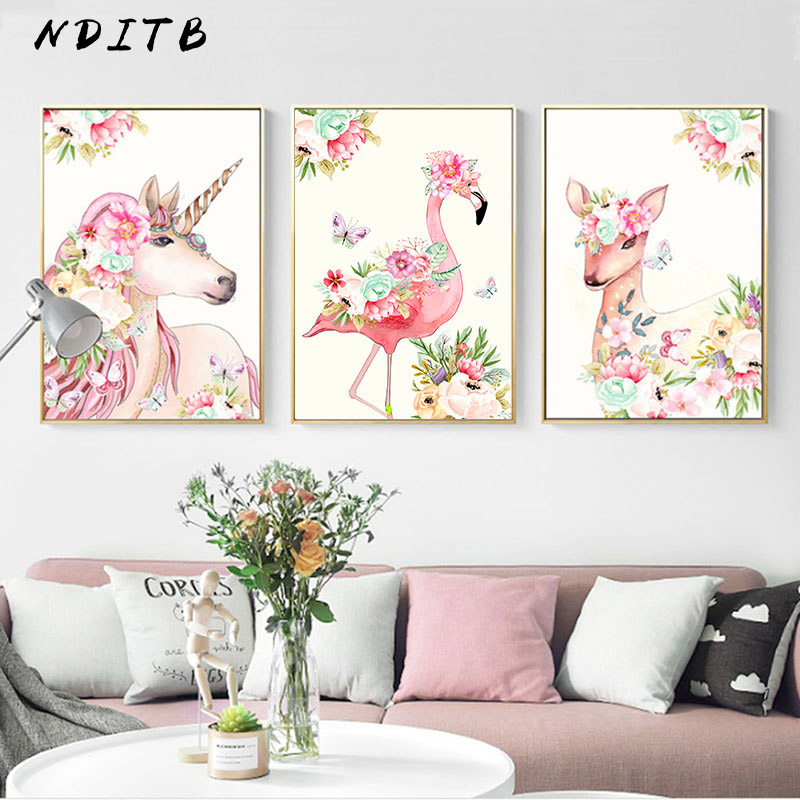 Unicorn Flamingo Deer Art Canvas Animal Poster Nursery Wall Painting Print Nordic Decoration Picture Modern Living Room Decor