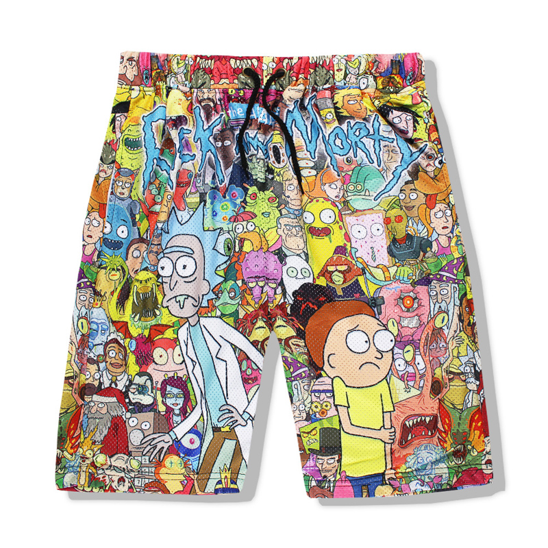 Rick and Morty Mens Summer Casual Shorts Cartoon 3D Print Loose Beach Shorts Summer Tracksuit Cartoon Anime shorts2018