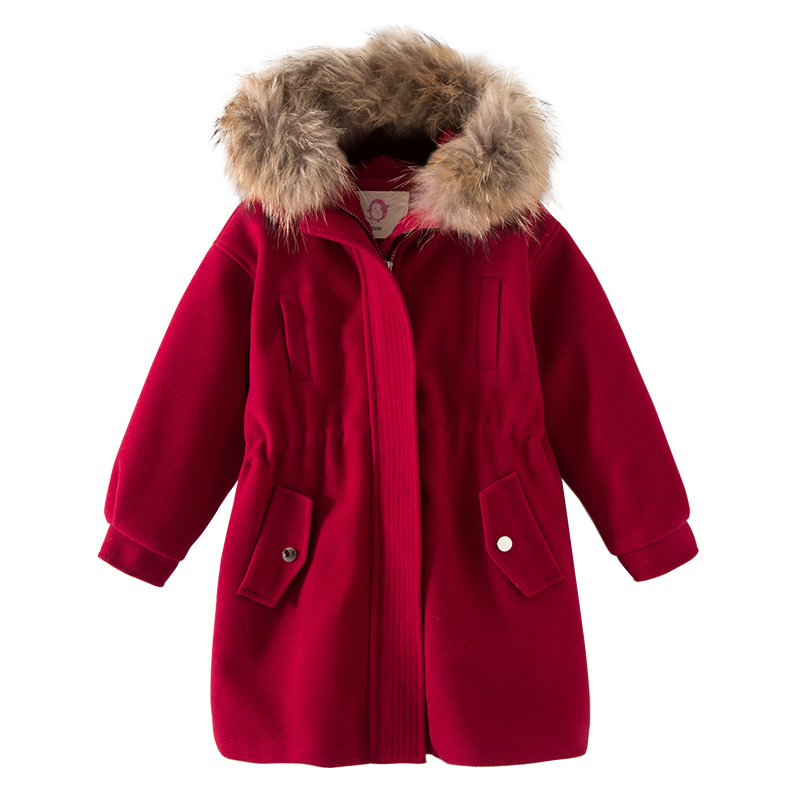 Girls Winter Coat 2018 New Girls Woolen Coat Fur Collar Hooded Girls Princess Clothing Thick Warm Outerwear Coat RT203 цена 2017