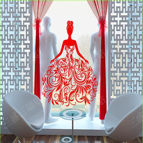 Wedding Dress Wall Sticker Glass Wall Decorations Lady Girls Women Store Decoration Clothing Decal Cloakroom Decor
