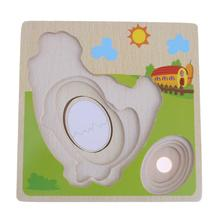 Kids Wooden Puzzle Panel Chicken Growth Hen Growing Up Story Cartoon Children Early Learning Teaching Educational Toys
