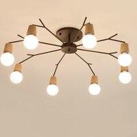 Nordic de madeira moderna conduziu a luz teto para casa sala estar quarto lâmpada do teto luminária lampara techo