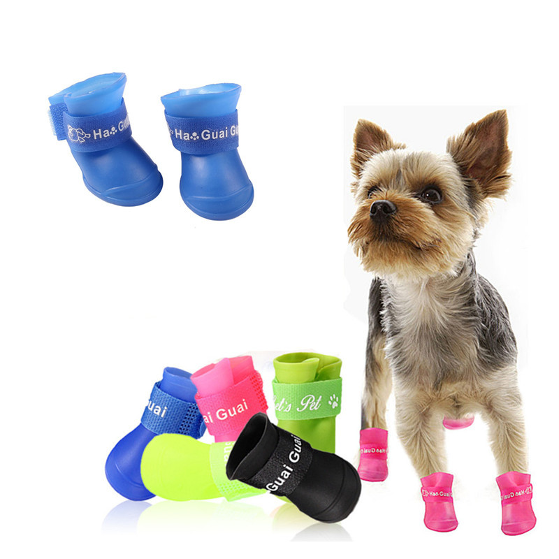New Pet Silicone Rain Boots Four Dogs Non-slip Candy Color Shoes Wear Waterproof Suitable For Small And Medium Dogs