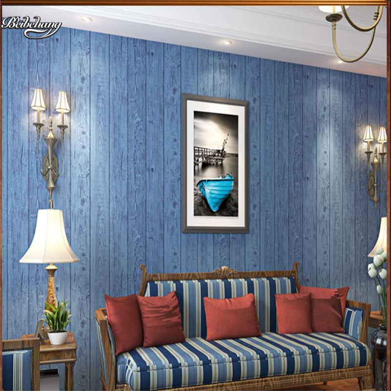 beibehang Wooden wallpaper blue style retro living room background wall bedroom European and American striped wallpaper цена