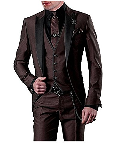 Mens Brown Peak Lapel 3 Piece Wedding Suit Slim Fit Groomsman Formal Bussiness Tux Single Breasted Prom Casual 2019 Blazer