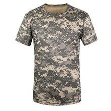 SZ-LGFM-Nueva Caza Al Aire Libre de La Camiseta Hombres Transpirable Dry Sport Camo Army Tactical Combat Camiseta Militar Campamento camisetas-ACU Verde S
