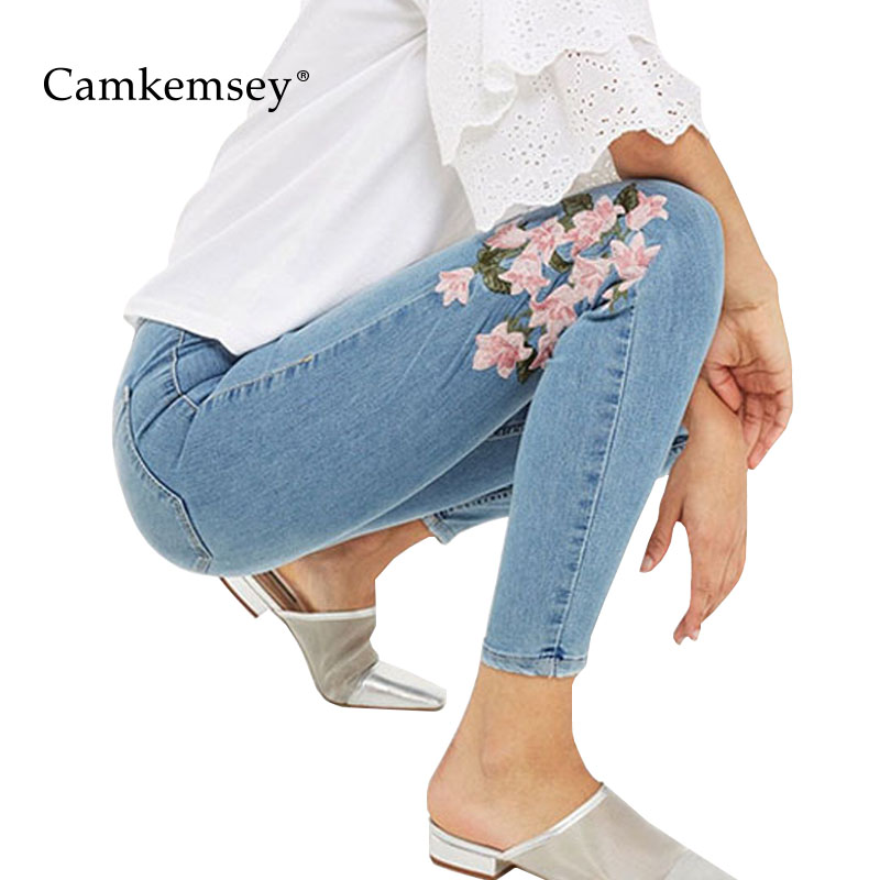 CamKemsey Floral Embroidery Stretch High Waist Jeans Woman Sexy Bodycon Skinny Jeans Women Denim Pants Capris Female Trousers