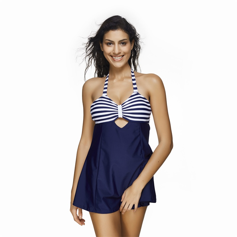 2017 Navy Deep Blue Striped One Piece Swimsuit Hollow Out Swimwear Women Sexy Halter Neck Backless Swimming Skirt S-3XL page swimsuit sw0670 navy mult