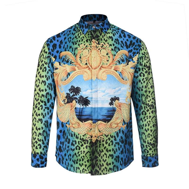 3f9c8a6cdfb Camisa de leopardo de lujo de los hombres camisas barrocas del palacio  Unisex diseño único camisa