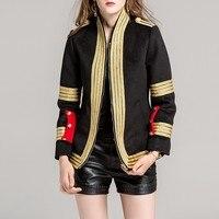 Роскошный жакет для подиума женские Высокое качество золотые полосы вышивка 2019 Новая мода Зимние черные сапоги женское осеннее пальто Casacos