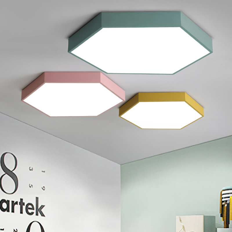 Nordic simple ultra thin geometric hexagonal ceiling lamp modern macarons colorful iron LED dimming ceiling lighting fixture