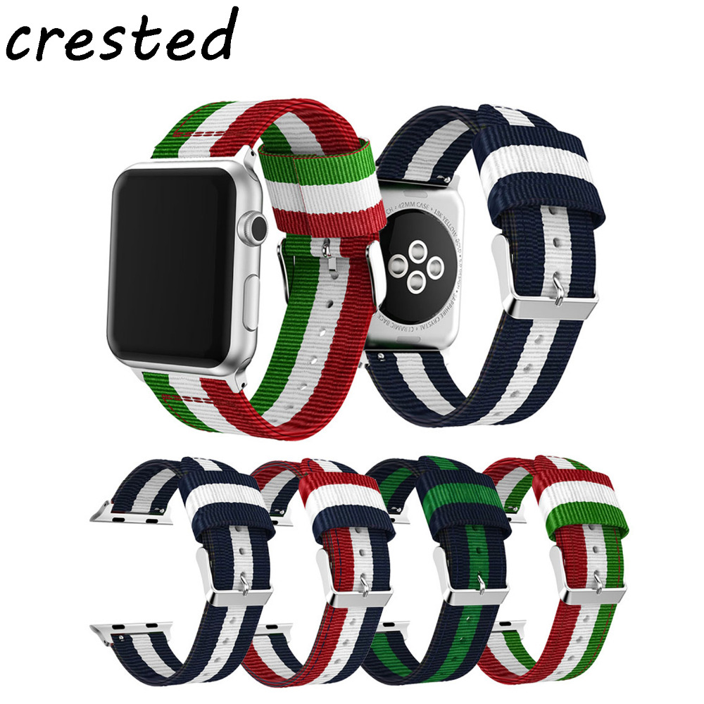 все цены на CRESTED woven nylon strap for apple watch band 4mm 38mm belt bracelet watchband for iwatch 3/2/1 canvas watch strap онлайн