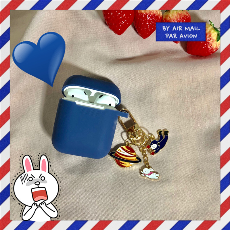 Retro Astronaut Planet Rabbit Keychain Anti-fall Silicone Case Apple Airpods Accessories Earphone Bluetooth Cover Keyring