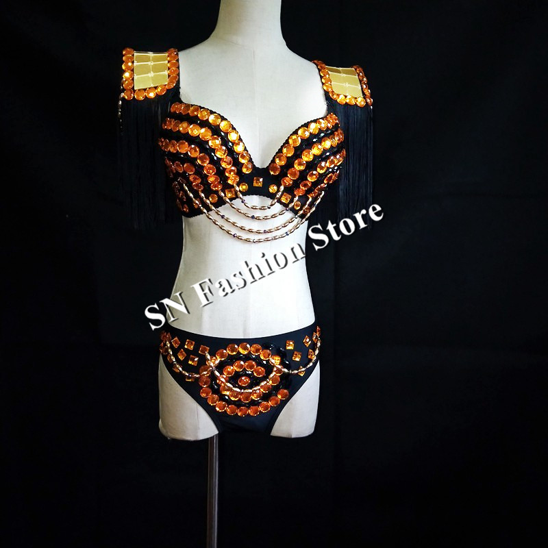 EC56 Gold mirror dresses dj disco stage show wears clothe women bikini bra models clothe club performance party outfit vest bar