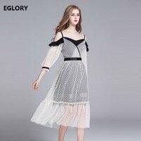 2018 Elbiseler Yeni Stil İlkbahar Yaz Moda Kadın Spagetti Kayışı Puantiyeli Baskı Seksi Kapalı Omuz Elbise Kulübü Parti giymek