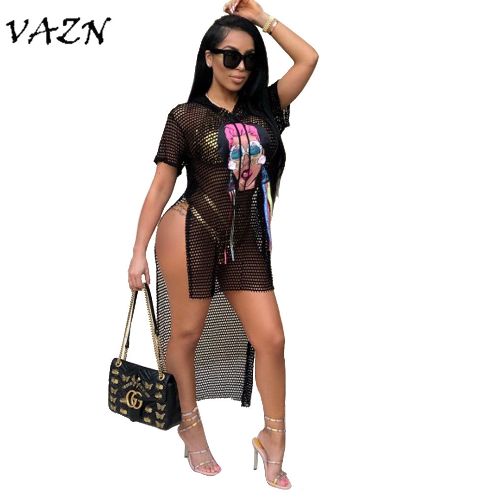 Women's Clothing 2019 Fashion Vazn 2018 Hot Sale Exotic Designer Novelty Sexy Women Dress Fish Net Short Sleeve Tassel Asymmetrical Dress Women Aj4021 Extremely Efficient In Preserving Heat