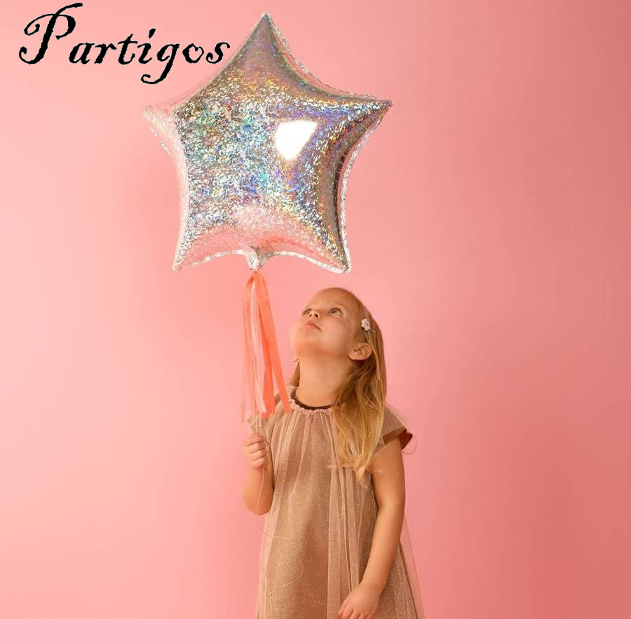 10pcs/lot 18inch Laser Metallic Star Foil Balloons Wedding Baby Bridal Shower Birthday Party Decor Helium Inflatable Globos Gift