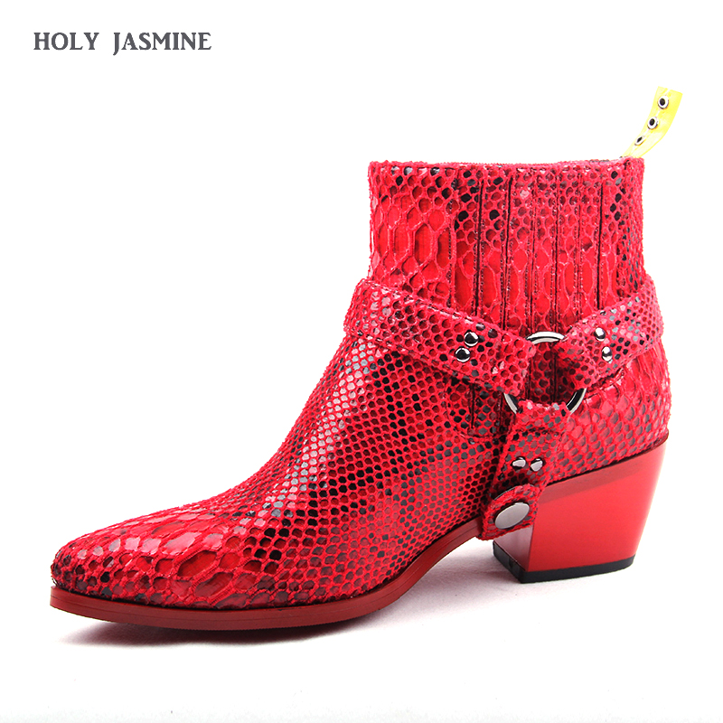 2019 New Snake Skin Pointy Toe Women Ankle Boots Python Print Chunky Heel Martin Boots Grey