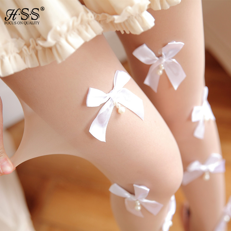 Fashion lace tights bow pearl decorated female stockings anti-hook wire autumn women stockings Black/White best gift for girl