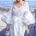 2016 new arrivals women summer white blouse V-neck lantern sleeve sexy elegant shirt female fashion tops