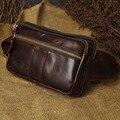 Real Cinturón de Los Hombres de Cuero Genuino Fanny Bolso de La Cintura de La Cadera de La Vendimia Teléfono móvil Monedero Viajes Aceite de Cera de cuero de Vaca CrossBody Sling Pecho paquete