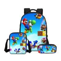 VEEVANV Brand Designer Super Mario 3D Printing Backpacks For Boys Girls Kid 3Pcs/Set School Bag Bookbag Children Mochila Escolar