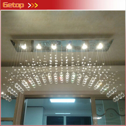 Фото ZX Modern K9 Crystal Chandelier Arched Rectangle Ceiling Lamp LED Fixture Lighting Bar Light Crystal Restaurant Curtain Lights