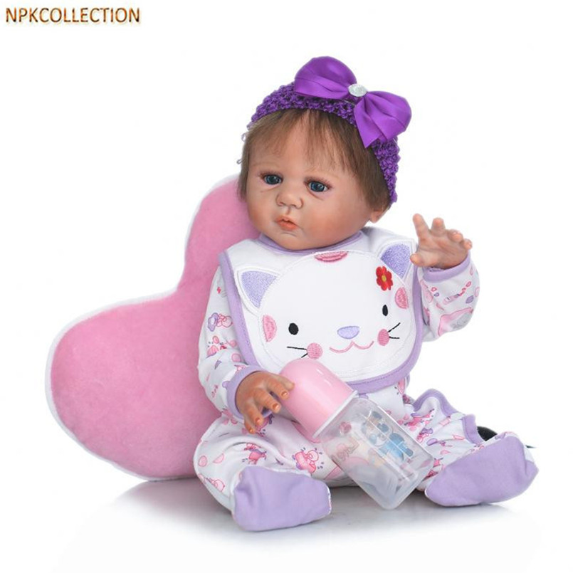 NPKCOLLECTION 45CM Silicone Real Doll Baby Born Girl Doll 18 Inch Lifelike Baby Alive Doll with Clothes and Magnetic Pacifier 45cm sd bjd doll vinyl doll with clothes 18 inch lifelike baby doll educational toys for children friends free shipping