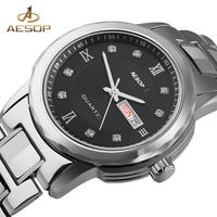 AESOP Brand Fashion Men Watches Quartz Wristwatch Black Steel Strap Waterproof Male Clock Calendar Relogio Masculino