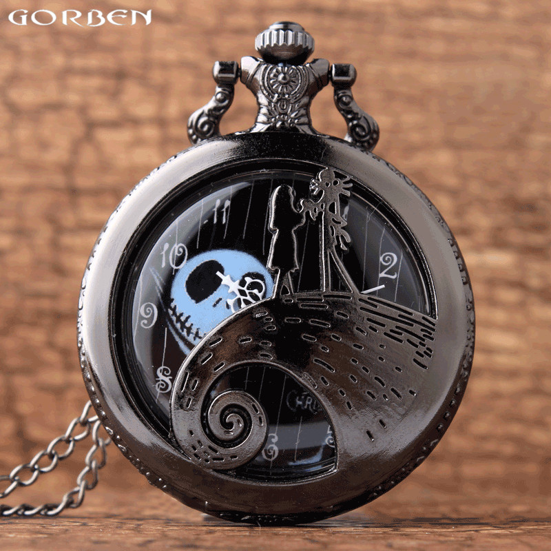 Skeleton Pocket Watch Vintage Tim Burtons Nightmare Before Christmas Quartz Pocket & Fob Watch Chain Necklace Clock