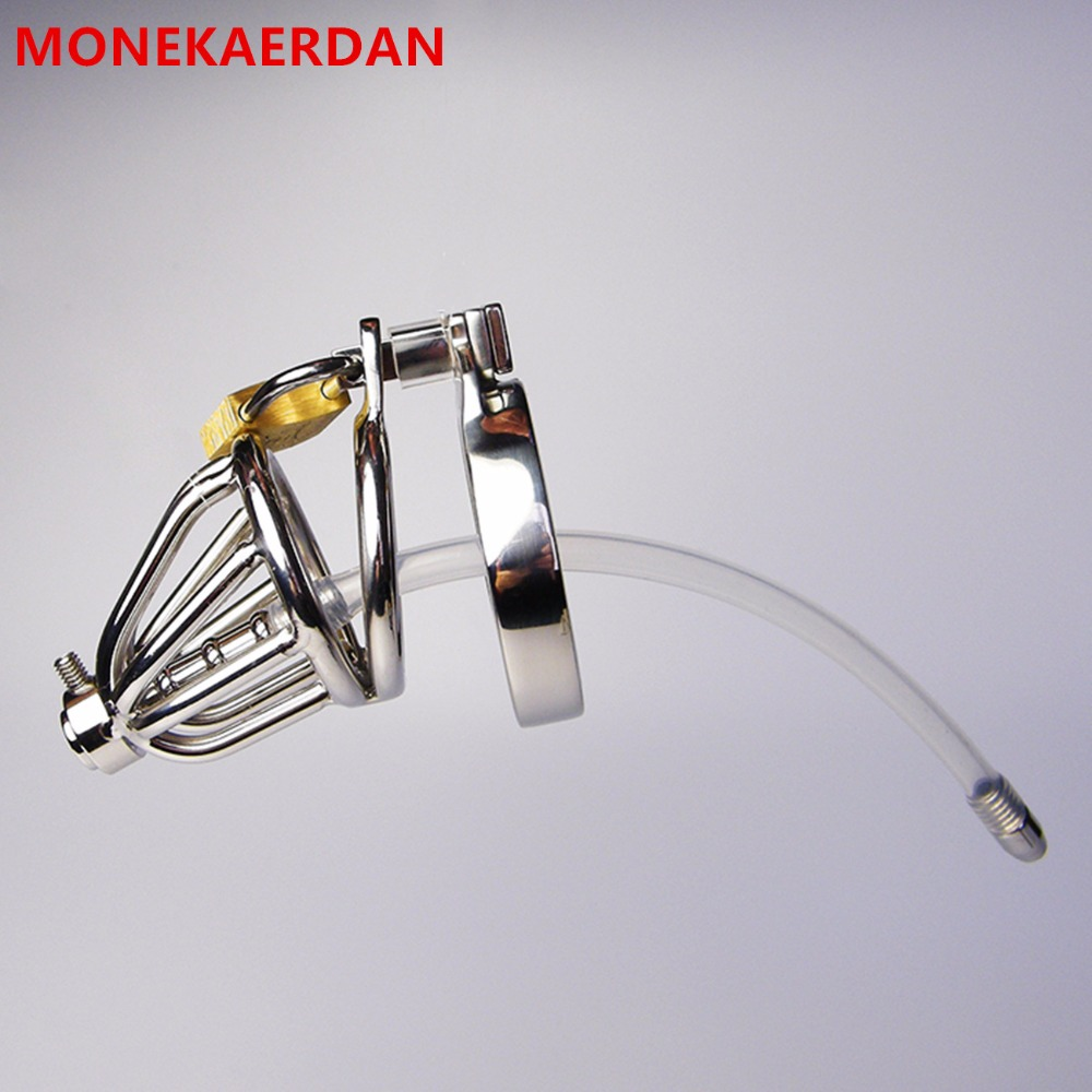 Metal Cock Cage Penis Rings With Silicone Catheter , Stainless Steel Chastity Device , Fetish Adult Products Sex Toys For Men sex products for men penis stainless steel cock cage chastity belts key lock fetish master ball cage sex toys